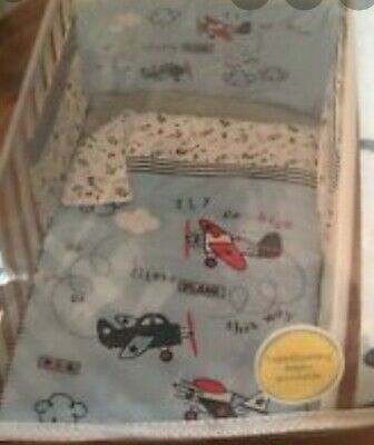 BOYS UP UP & AWAY Cot Quilt and Bumper Set - Cot & CotBed Bedding Set - NEW