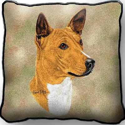 """17"""" x 17"""" Pillow Cover - Basenji by Robert May 1184"""