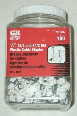 "100 Gardner Bender PS-150ZJ 1/2"" Electrical Wire Staples Cable Straps 12/2-14/2"