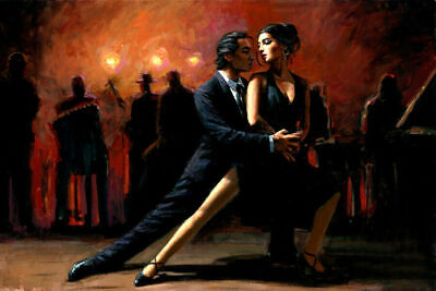 Handpainted Modern Deco Art Abstract Tango Dancer Figures Oil Painting On Canvas