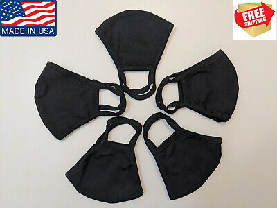 5 PACK ADULT BLACK FACE COVERING Cotton Fabric Washable, Breathable, Made In USA