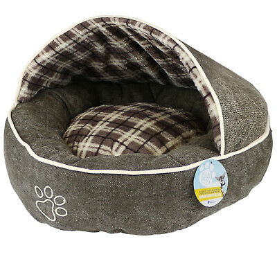 Me & My Brown Check Pet Cave/Igloo Soft Cosy Covered Kitten/Cat/Puppy/Dog Bed