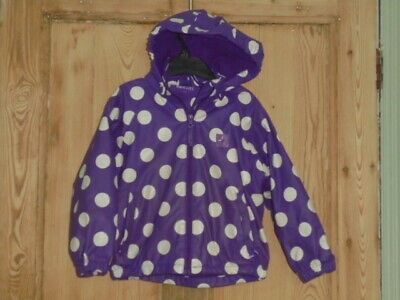 Mountain Warehouse Kids Zip Hooded Jacket Purple White Polka Dots - 3-4 years