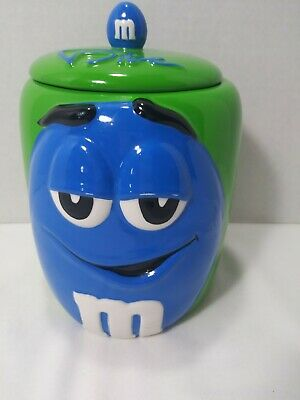M&M Blue Galerie Candy Treat Cookie Jar Canister 2003 Ceramic Mars Inc