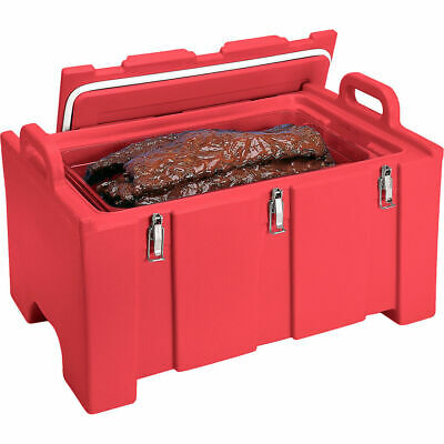 Cambro 40 Qt Cooler / Insulated Food Carrier, Molded Handles Hot Red 100Mpc-158