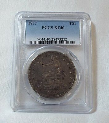 1877 Trade Dollar CERTIFIED  PCGS  XF 40 Silver Dollar