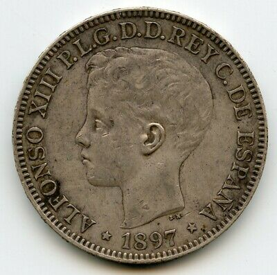 1897 Spanish Philippine,  One Silver Peso Coin, Great AU Condition, not cleaned