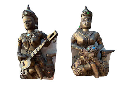 Pair Thai Wooden Statue Carved Buddha gilded glass mosaics Wall Display Asian
