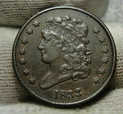 1833 Classic Head Half Cent - Nice Coin - Rare, Only 103,000 Minted (9343)