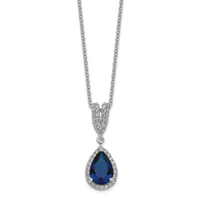 Cheryl M SS Rhod Plated Lab Created Opal Cabochon /& CZ 18in Necklace