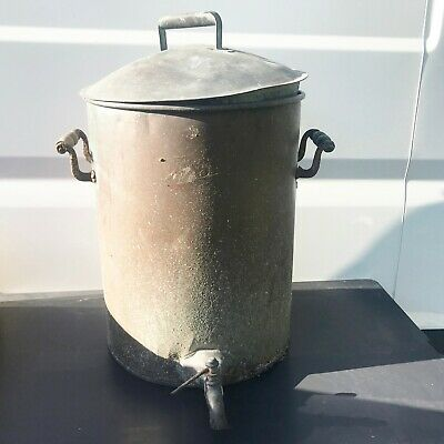 Antique Copper Stock Pot Pan With Drainage Tap Edwardian French