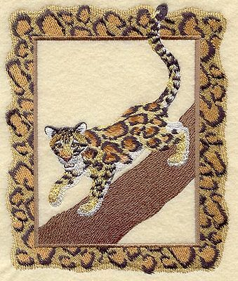 Large Embroidered Zippered Tote - Clouded Leopard A4502
