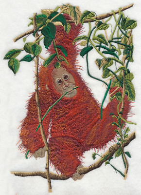 Large Embroidered Zippered Tote - Baby Orangutan O1003
