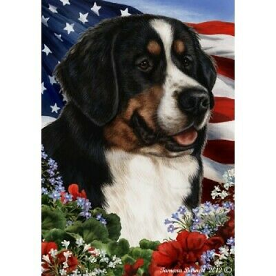 Patriotic (1) House Flag - Bernese Mountain Dog 16058