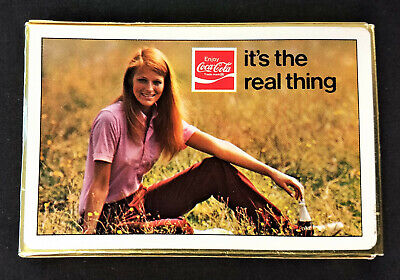 Coca Cola 1971 Playing Cards - It's The Real Thing w CC Wave & Girl Image - NM