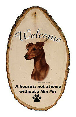 Outdoor Welcome Sign (TB) - Uncropped Red Miniature Pinscher 51151