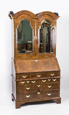 Antique  Queen Anne Double Dome Burr Walnut Bureau Bookcase C1720