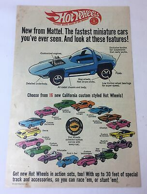 1968 Mattel HOT WHEELS ad page ~ Fastest Miniature Cars ~Mustang,Camaro,red line