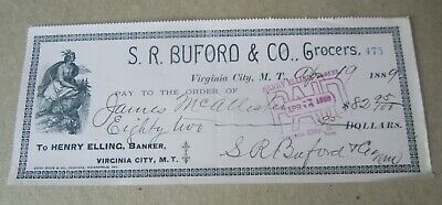 Old 1889 S.R. Buford & Co. Grocers BANK CHECK - Virginia City MONTANA TERRITORY