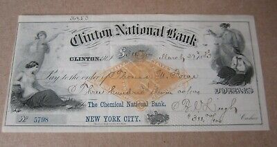 Old 1883 - CLINTON NATIONAL Bank - BANK CHECK - Revenue Stamp - NEW YORK