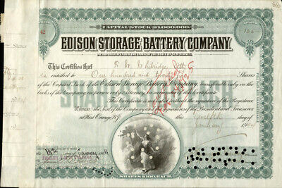 Thomas A. Edison - Stock Certificate Signed 01/12/1904 With Co-Signers