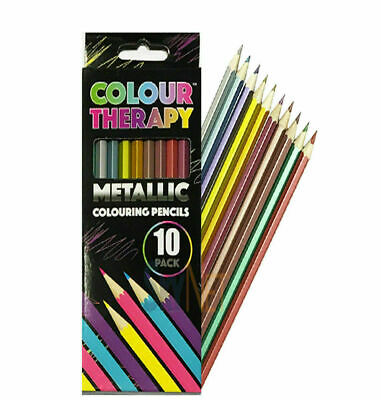 10 Colour Therapy Metallic Colouring Pencils arts and crafts anti stress