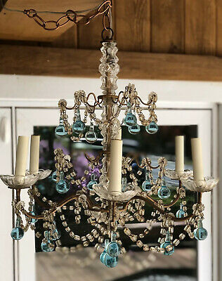 Vintage French Glass Blue Crystal Drops Macaroni Beaded Chandelier REWIRED