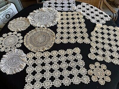 Lot Of 11 Vintage Off White/Ecru Hand Tatted/Tatting Doilies