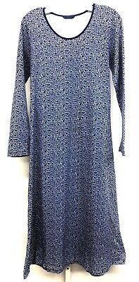 Lands' End Sz Small Women's Blue Lounge Floral Cotton Long Sleeve Midi Nightgown