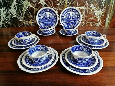 COPELAND England SPODE´S TOWER - vintage 18 teiliges Kaffeeservice in blau
