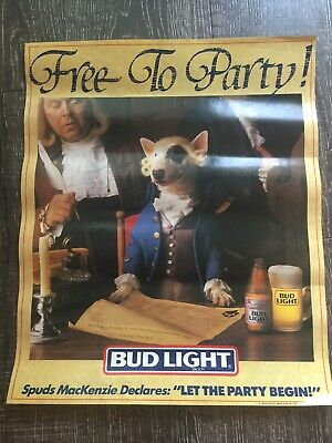 "Vintage 1987 SPUDS MACKENZIE ""FREE TO PARTY"" Bud Light Poster"