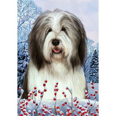 Winter House Flag - Blue and White Bearded Collie 15170