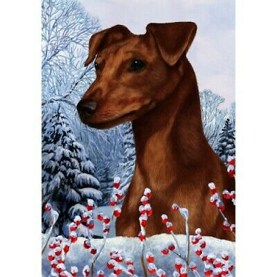 Winter House Flag - Uncropped Red Miniature Pinscher 15151