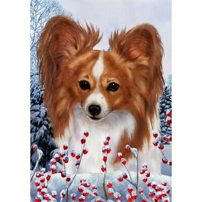 Winter House Flag - Red and White Papillon 15064
