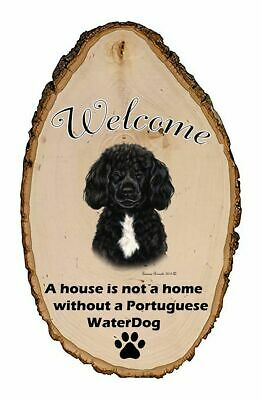 Outdoor Welcome Sign (TB) - Black and White Portuguese Water Dog 51912