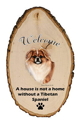 Outdoor Welcome Sign (TB) - Red and White Tibetan Spaniel 51476