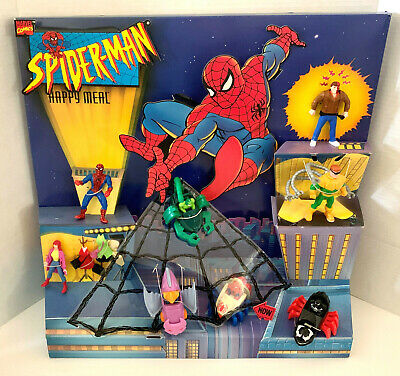 McDonald's Happy Meal Store Display 1995 Spiderman Toys Complete