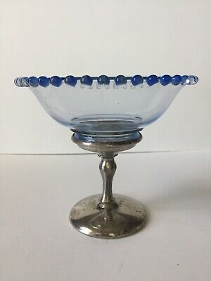Vintage Deression Era Blue Glass And Silverplate Candy/Nut Dish