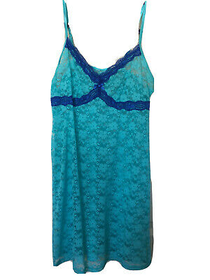 FREE SHIPPING Secret Treasures Teal Lace With Blue Trim Chemise Nightgown Med