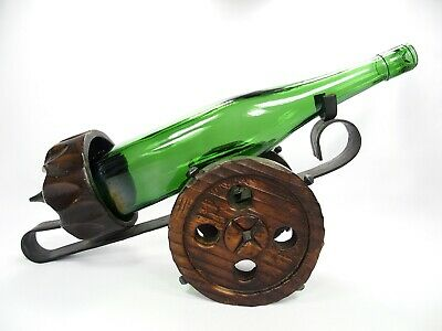 Vintage CARVED WOOD and HAMMERED DISTRESSED WROUGHT IRON Wine Cannon Holder EXC!