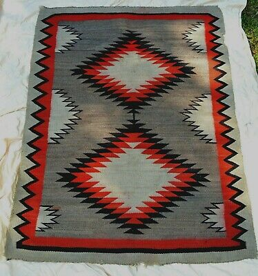"""LARGE TWO HILLS  ANTIQUE NATIVE AMERICAN NAVAJO INDIAN HAND WOVEN RUG 45"""" x 60"""""""