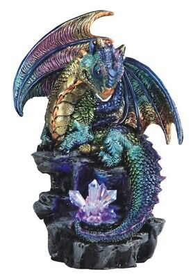 Green and Purple Dragon with LED Light up Crystals Medieval Fantasy Figurine New