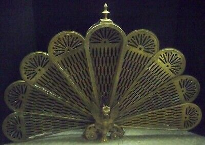 """Vintage Brass Fan Fireplace Screen 24"""" Tall Very Good Condition"""