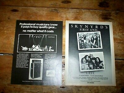 LYNYRD SKYNYRD ( FIRST AND ... LAST / PEAVEY AMPS ) 1970s Vintage PROMO Ads NM-