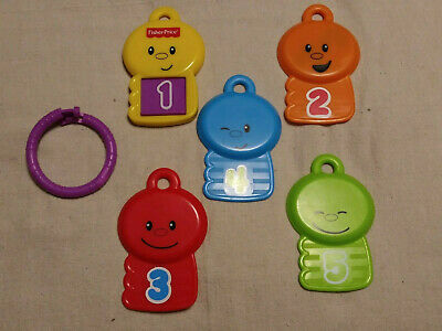 Fisherprice plastic Keys On Ring Numbers And Faces Baby Toy PRE-OWNED