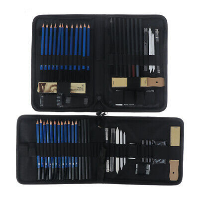 40/33 Professional Sketching Drawing Set Art Pencil Graphite Charcoal Artists