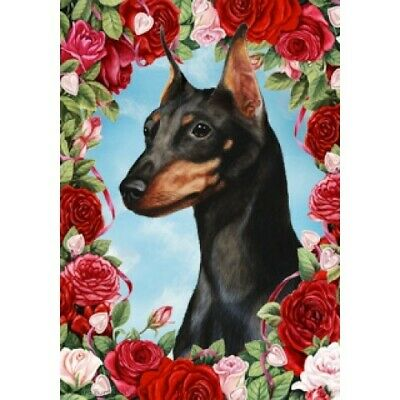 Roses House Flag - Black and Tan Miniature Pinscher 19222