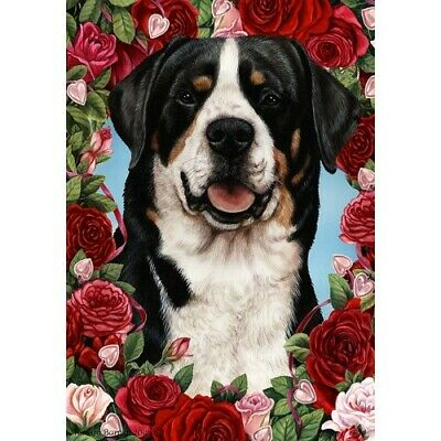 Roses House Flag - Greater Swiss Mountain Dog 19144