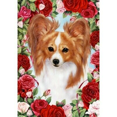 Roses House Flag - Red and White Papillon 19064