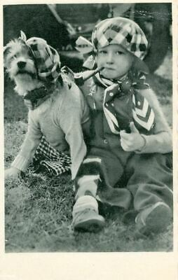 RARE Old Dog Postcard Border Terrier & Child with Pipe 1936 Netherlands